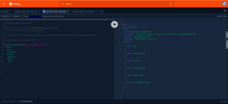 Terrain de jeu GraphQL pour tester l'API GraphQL CMS Headless généré.