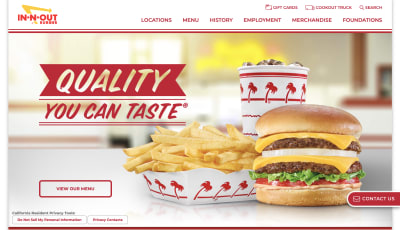 In-N-Out Burger website photos and transitions
