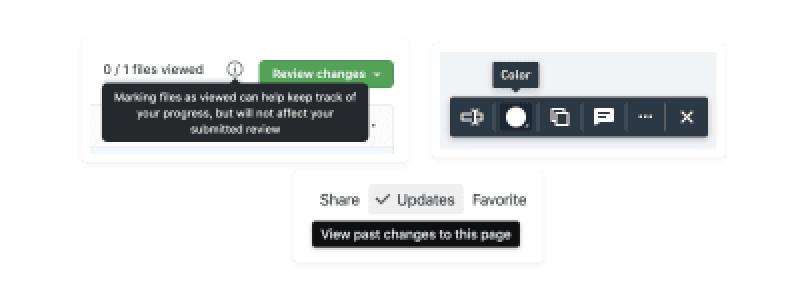 Exemples d'info-bulles de GitHub, Whimsical et Notion