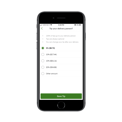 Instacart users can customize delivery tip on big orders