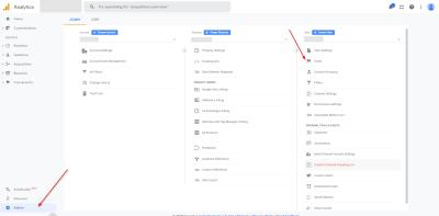 Google Analytics Goals - Accéder aux objectifs dans la section d'administration [19659019] Accédez aux objectifs dans Google Analytics en accédant à Admin> Objectifs. (<a href=