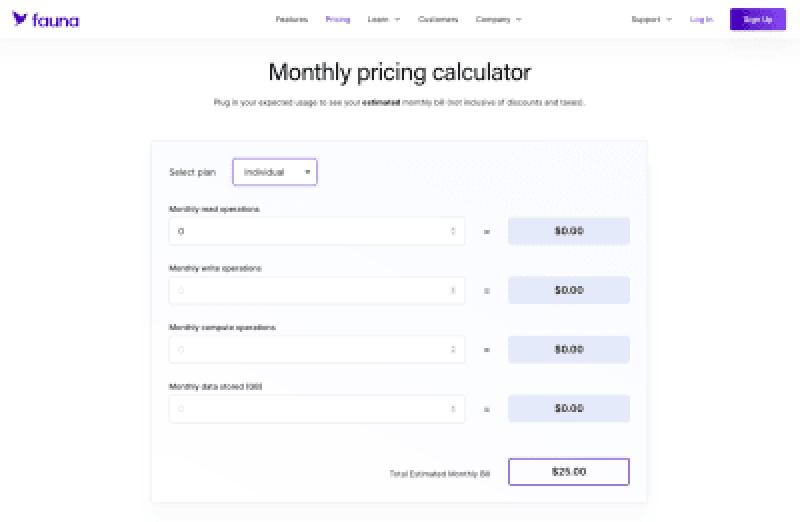 Une capture d'écran du calculateur de prix de Fauna trouvé sur leur site