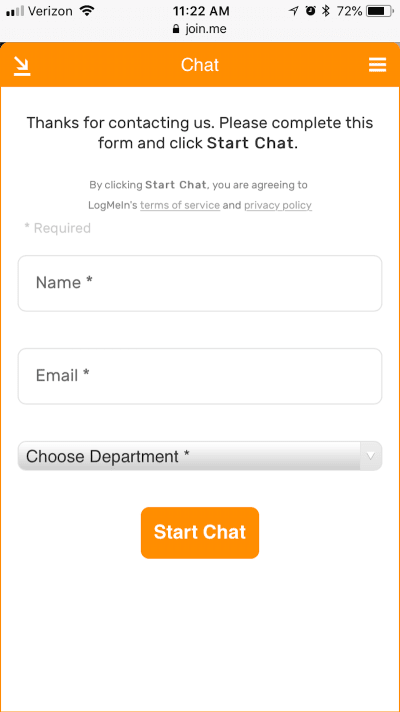 Join.me initiates live chat