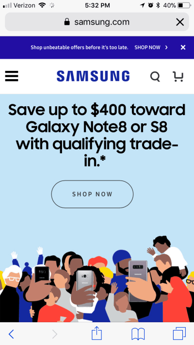 Big ghost button on Samsung's mobile website.