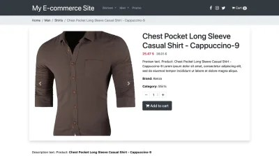Product page with cart enabled