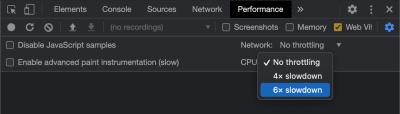 Une capture d'écran montrant comment activer la limitation du processeur dans Chrome DevTools