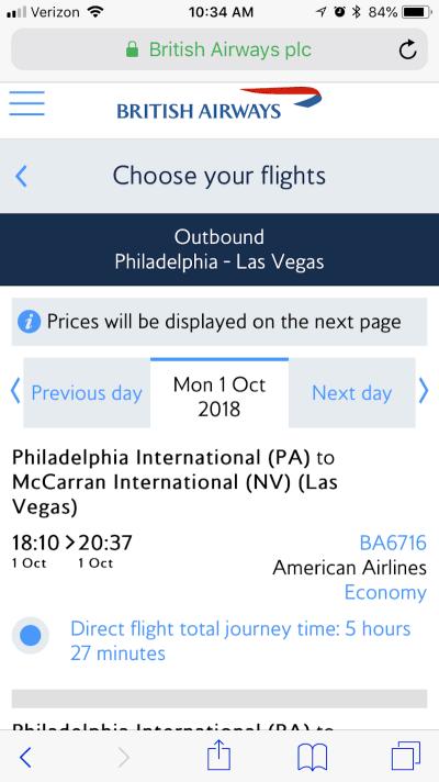 British Airways no-price comparison