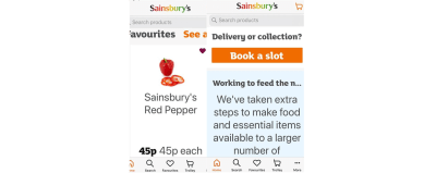 Application de Sainsbury sur un smartphone