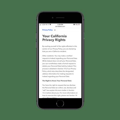 En effet page légale sur mobile avec navigation supérieure collante