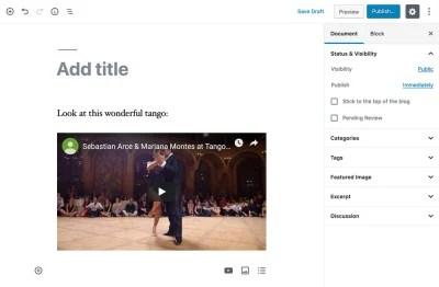 Adding content through Gutenberg