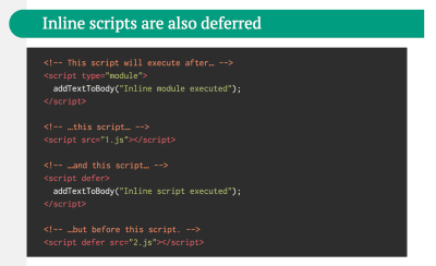 As explained in Jake Archibald's article, inline scripts are deferred until blocking external scripts and inline scripts are executed.