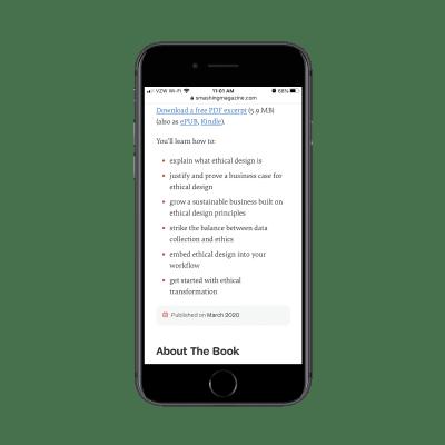 Les ebooks Smashing Magazine sont livrés avec des PDF, ePub et Kindle gratuits téléchargements d'extraits avec des plans de cours précisés
