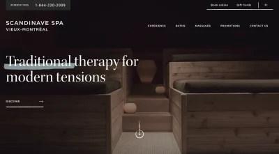 Scandinave Spa - home vidéo de page avec des pièces et des expériences sombres, vides et calmes