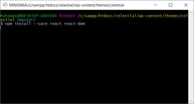 Installing React via CLI