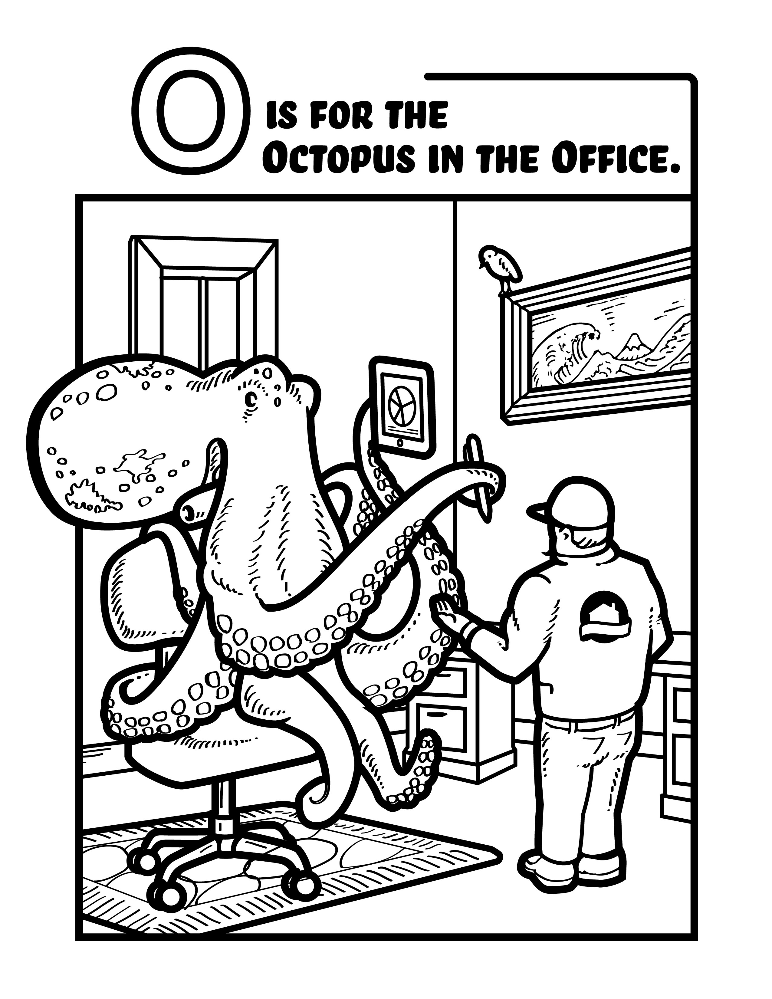InterNACHI® Octopus in the Office Coloring Sheet