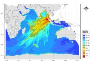 Carte du maximum d'amplitude du tsunami choisi pour exercices de crise dans l'Océan Indien