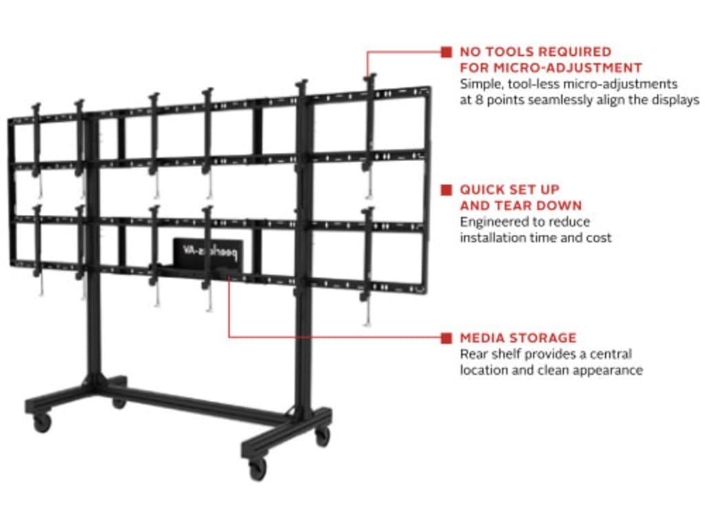 hight resolution of modular video wall cart 3x2