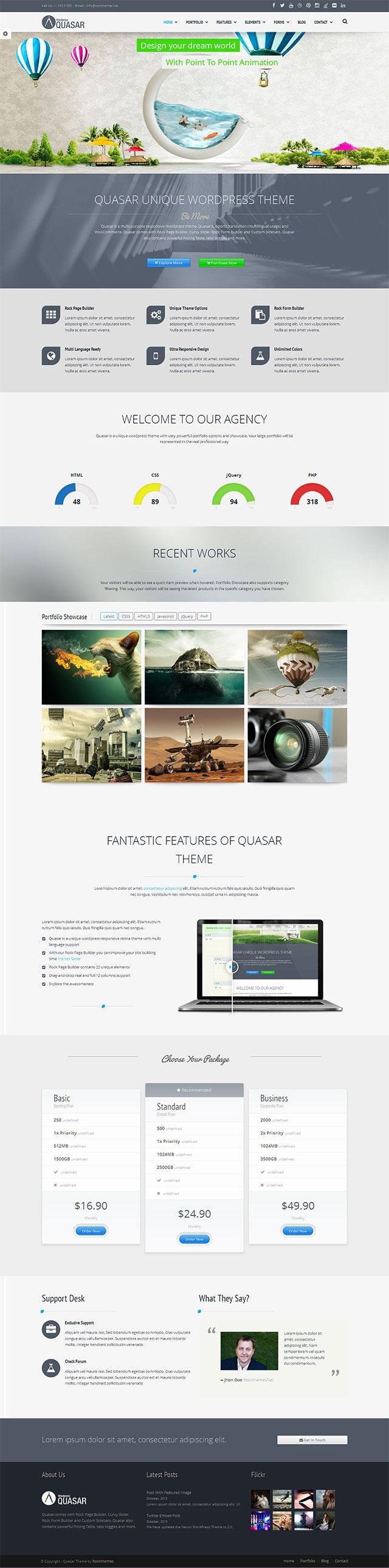 Moderne Webseiten für Firmen mit WordPress Theme Quasar
