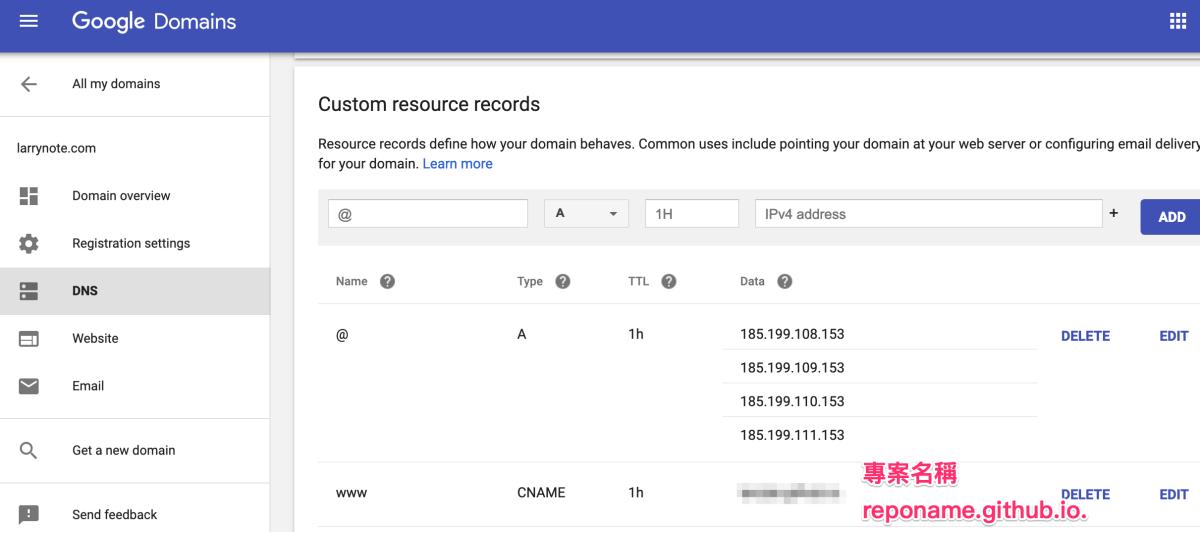 Google Domain設定A record和CNAME