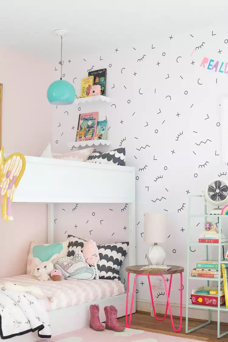 A Shared Bedroom With Bunk Beds Lay Baby Lay