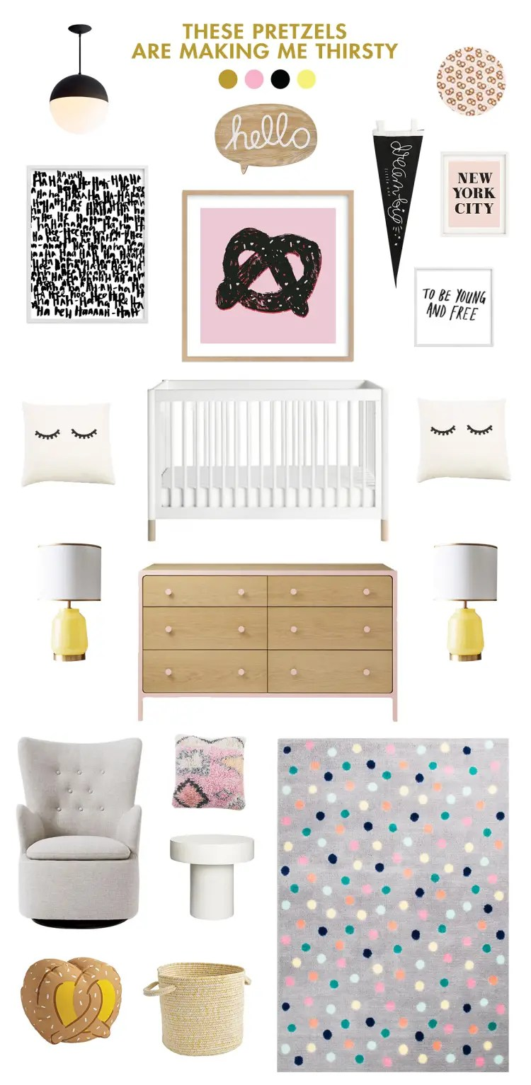 black and pink baby room ideas lay