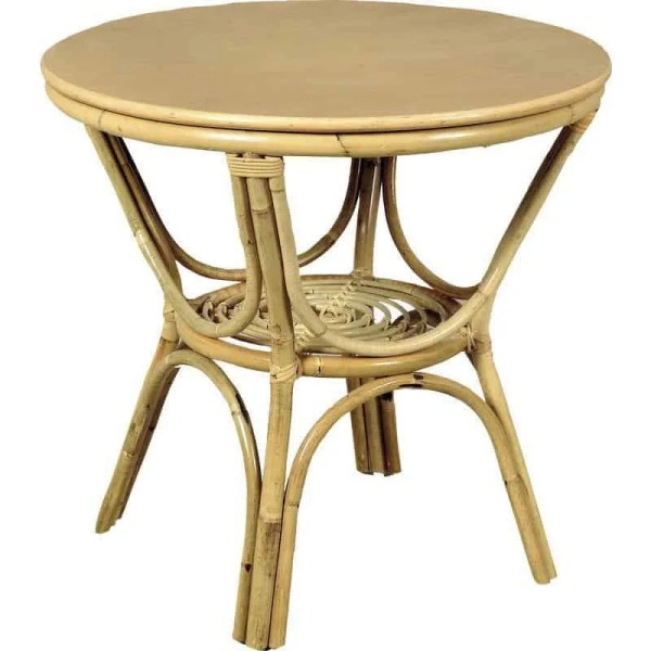 Table basse en rotin, forme ronde.