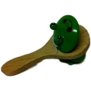 Castagnettes enfant, en bois, avec poignée, motif grenouille
