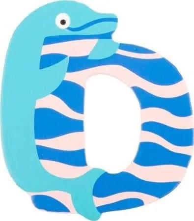 Lettre D en bois bleu motif grand dauphin 7cm