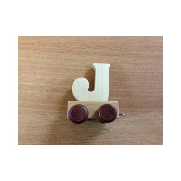 Lettre J du train, en bois