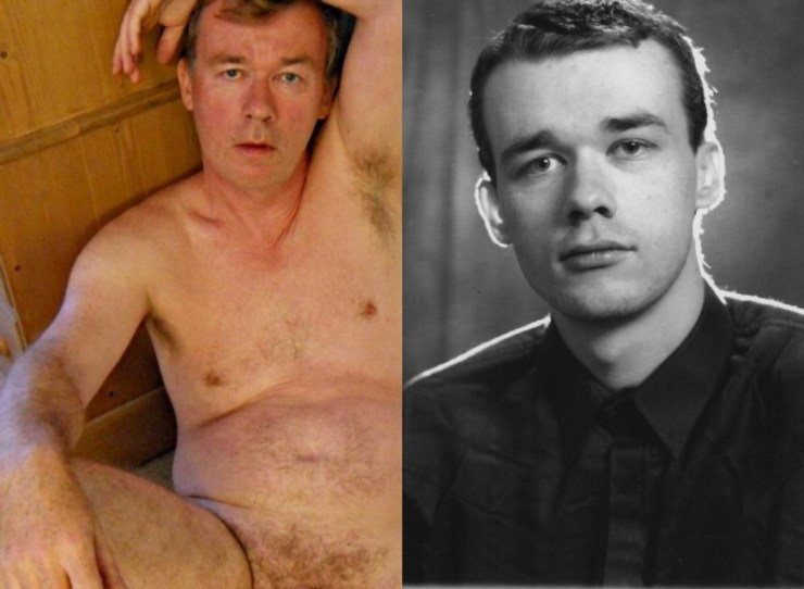 Richard Crowe naked, now and then, 56 and 18 (image supplied)