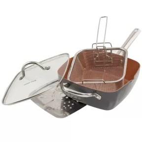 6 in 1 copper pan set seen on Steve Harvey Show