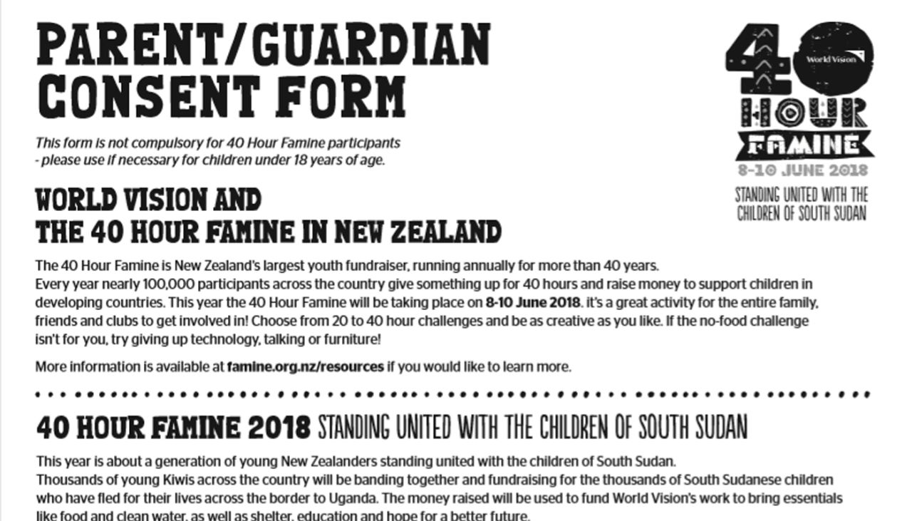 Parent consent form | World Vision New Zealand