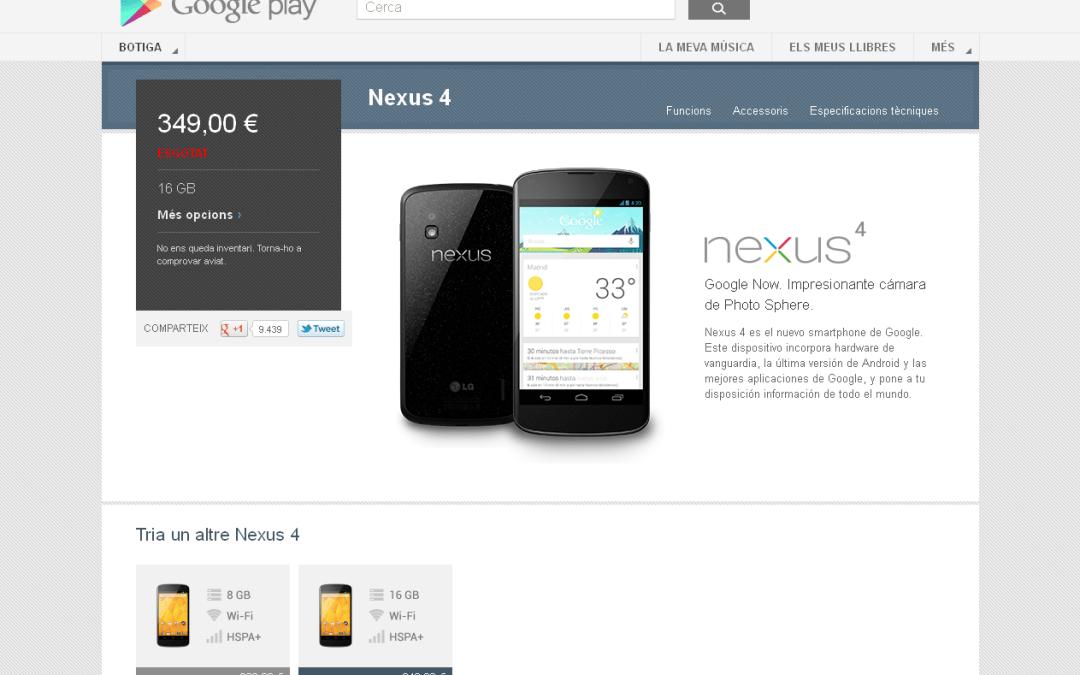 Un allau de peticions del Nexus 4 satura el Google Play