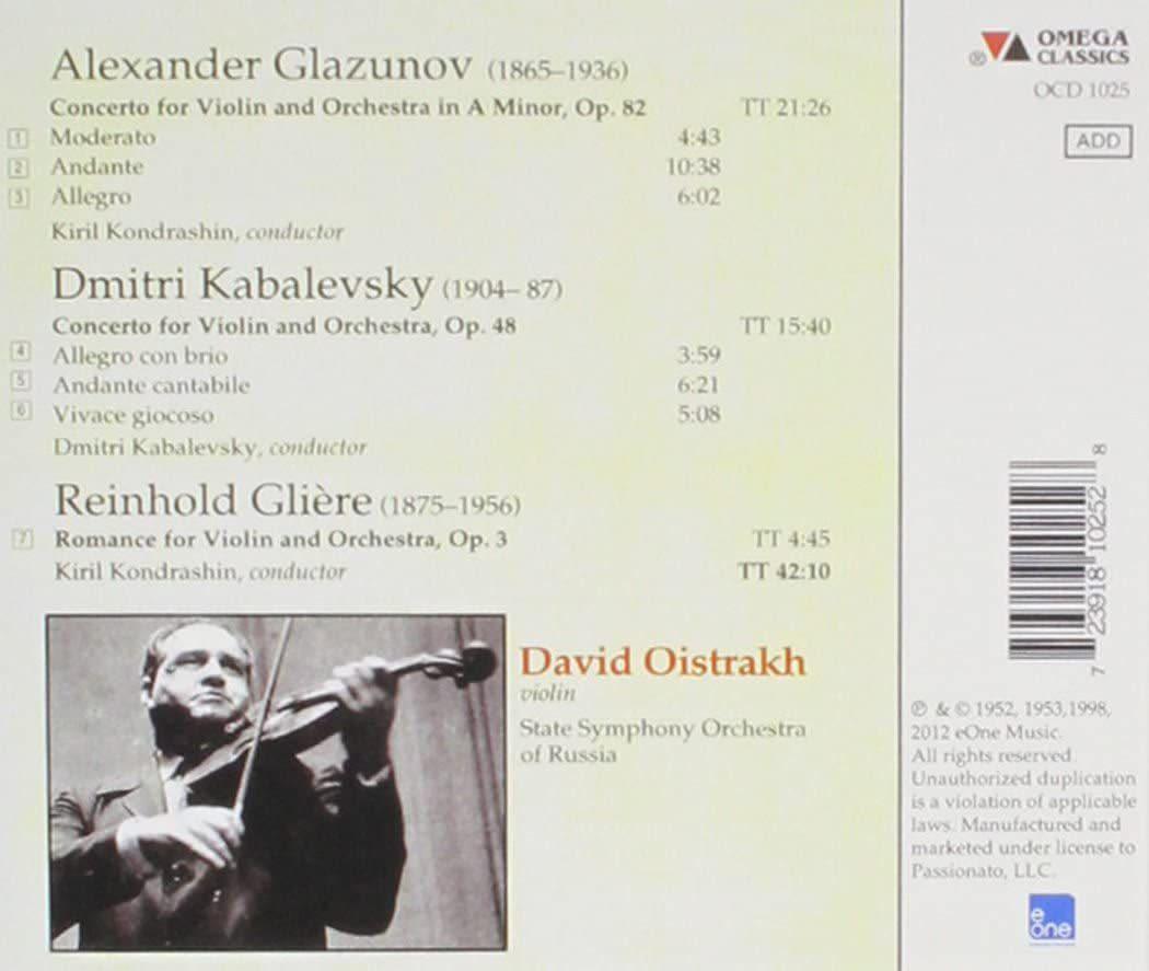Photo No.2 of Oistrakh plays Glazunov - Kabalevsky - Gliere