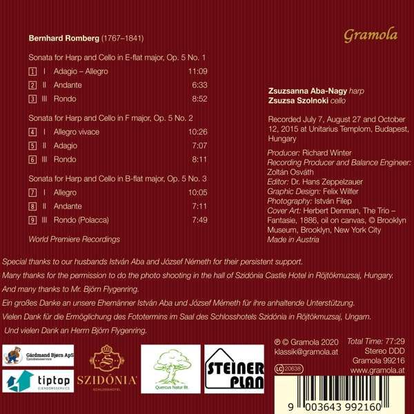 Photo No.2 of Romberg: Sonatas for Harp and Cello