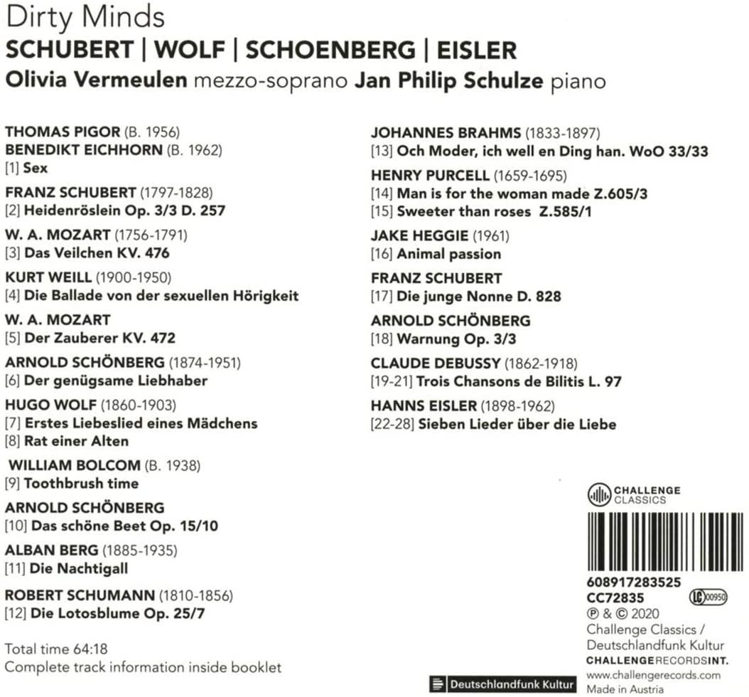 Photo No.2 of Dirty Minds: Schubert, Wolf, Schoenberg, Eisler