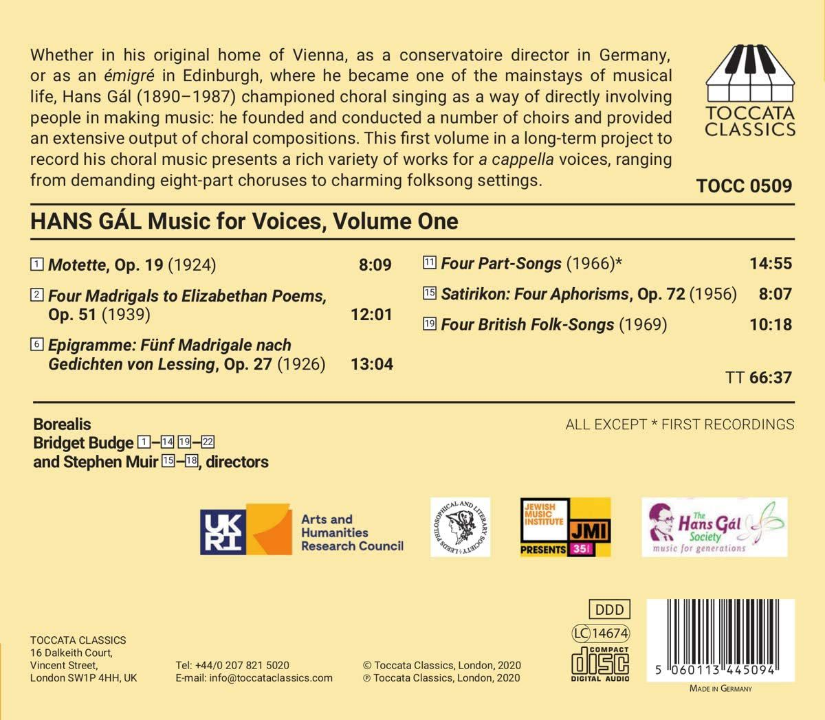 Photo No.2 of Hans GÁL: Music for Voices, Volume One