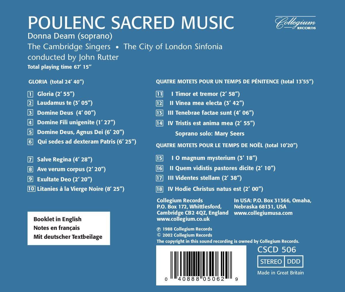 Photo No.2 of Poulenc: Sacred Choral Works