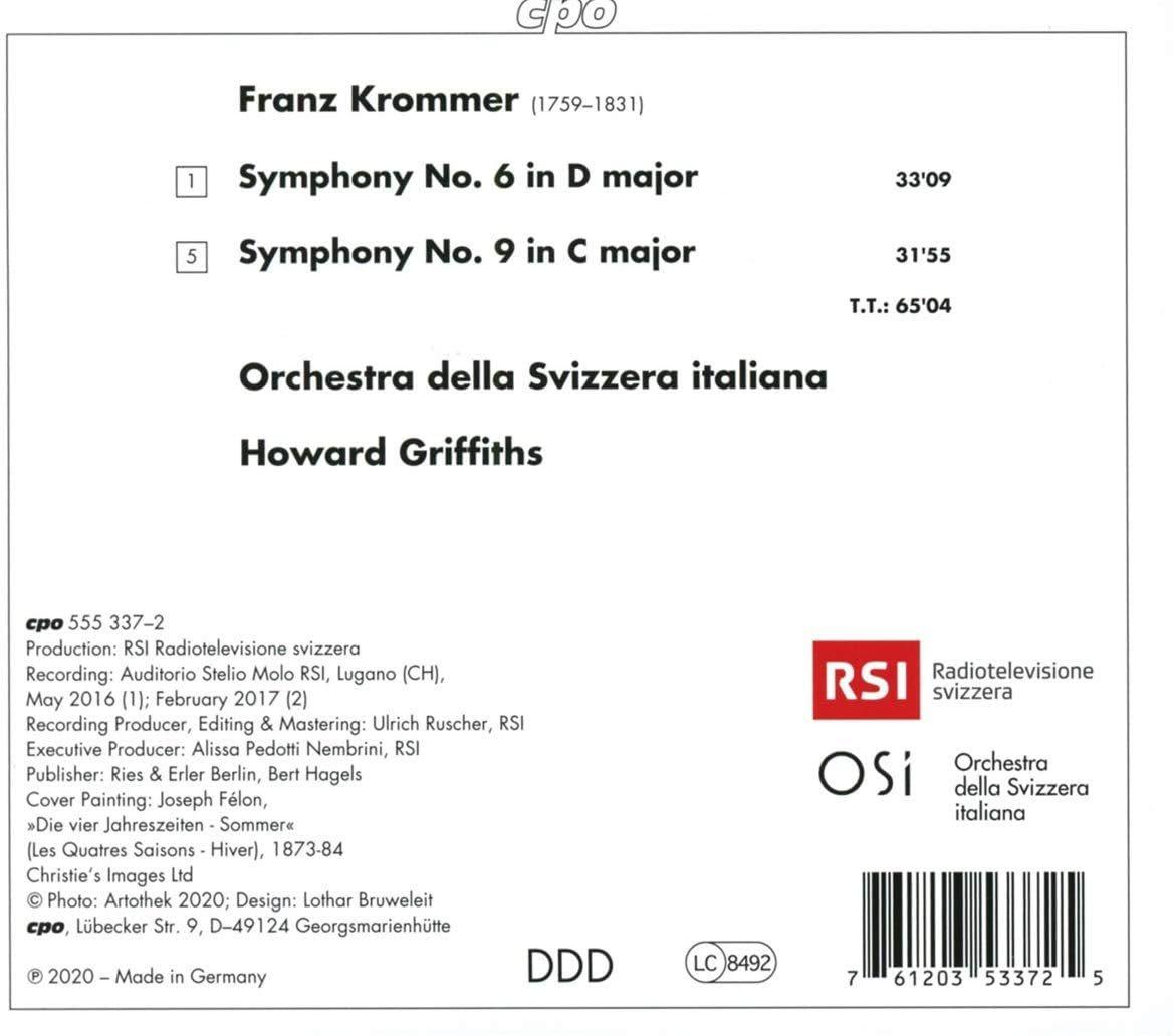 Photo No.2 of Franz Krommer: Symphonies 6 & 9