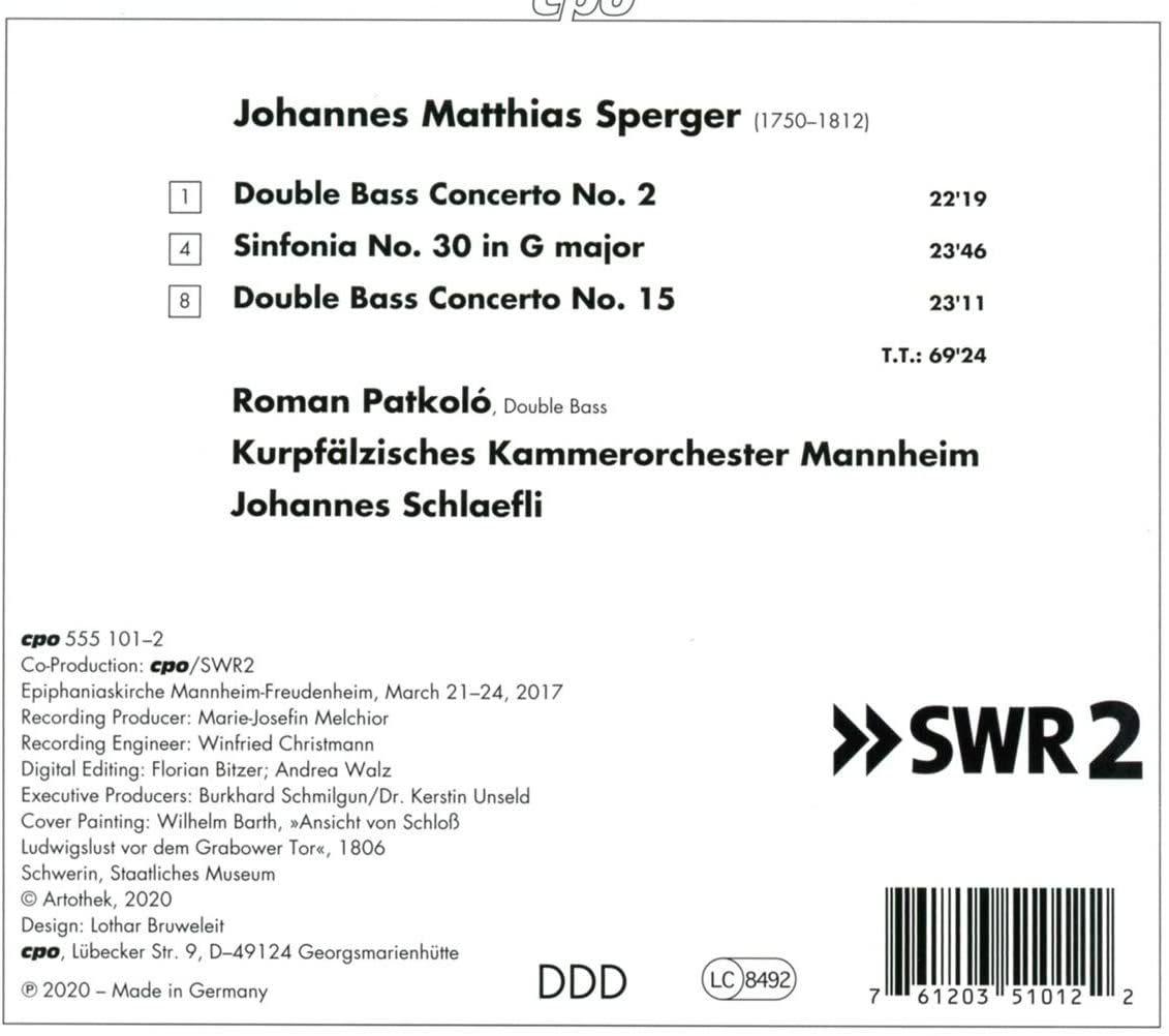 Photo No.2 of Sperger: Double Bass Concertos Nos. 2 & 15 & Sym No. 30