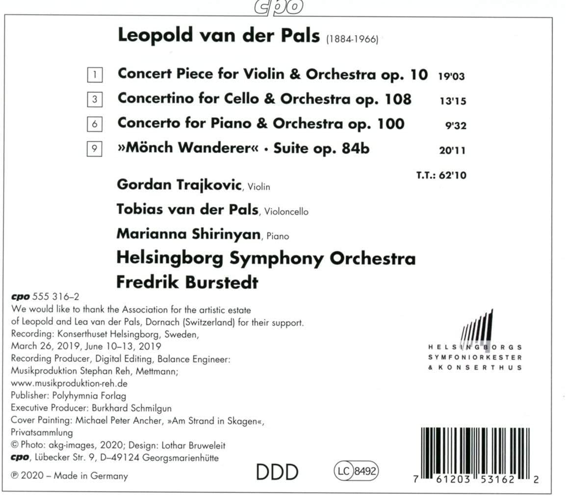 Photo No.2 of Leopold van der Pals: Concertos for Violin, Piano & Cello