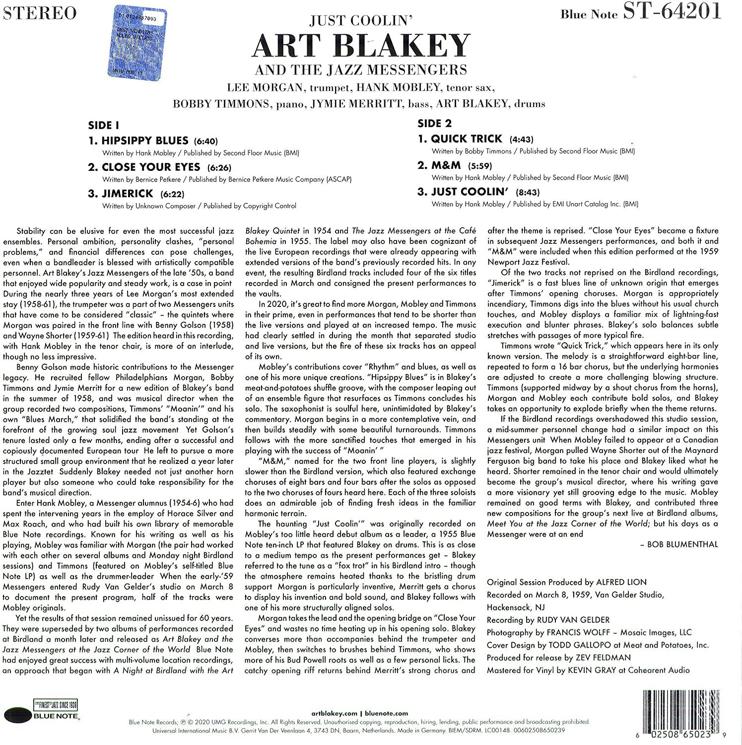Photo No.2 of Art Blakey: Just Coolin (Vinyl)