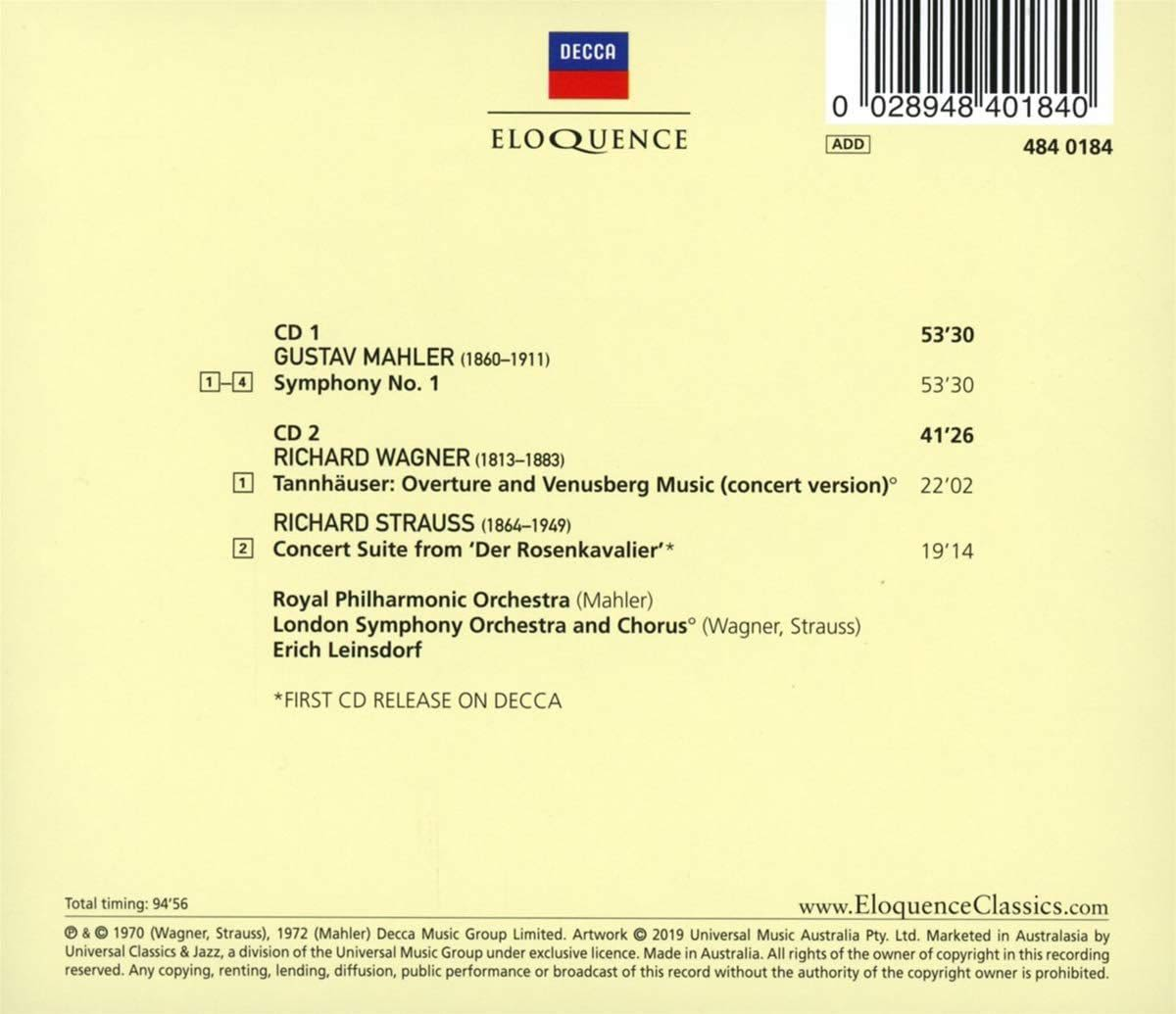 Photo No.2 of Mahler: Sym No 1, Wagner & Strauss Orchestral Works