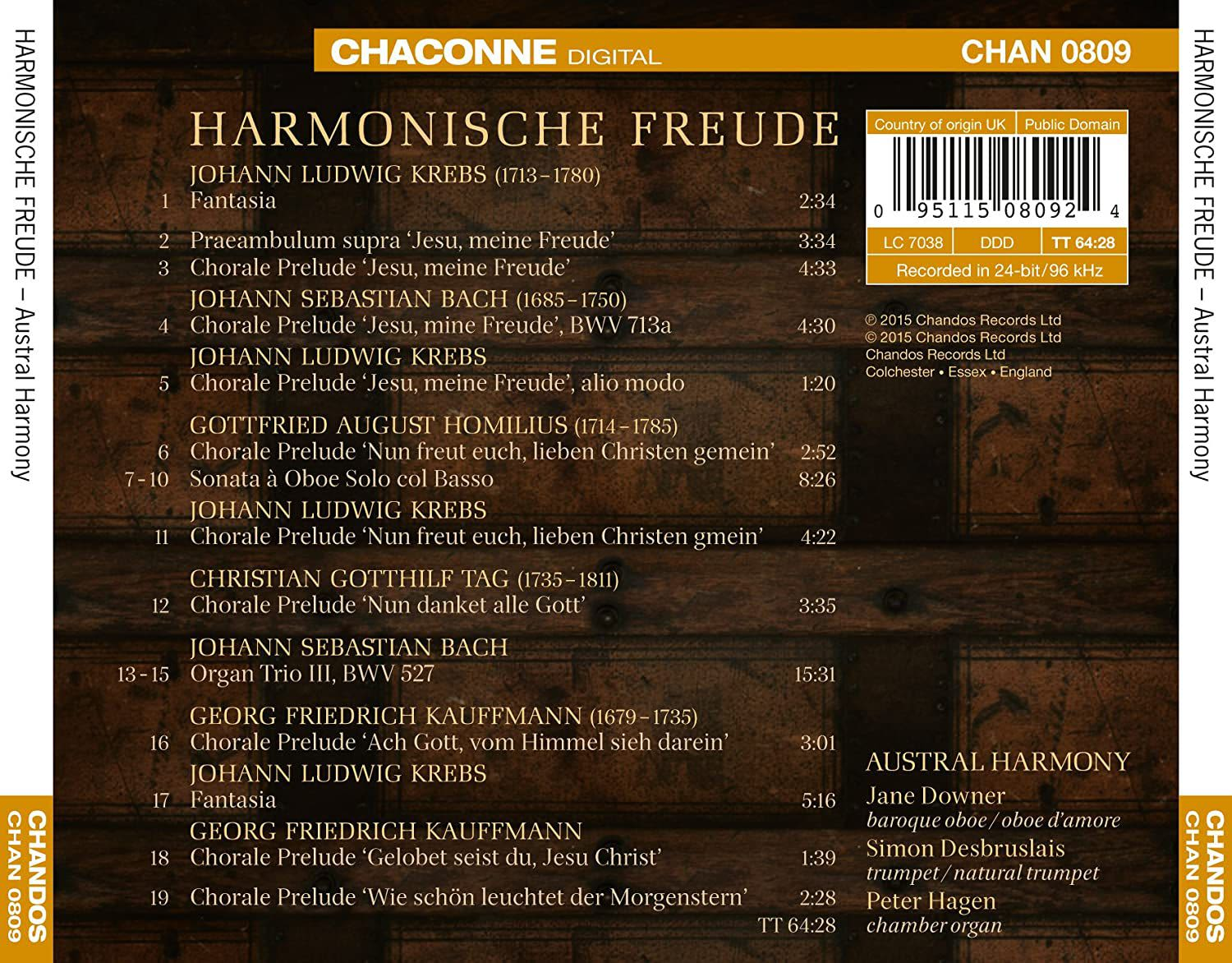 Photo No.2 of Harmonische Freude: Works for Baroque Oboe, Trumpet and Chamber Organ