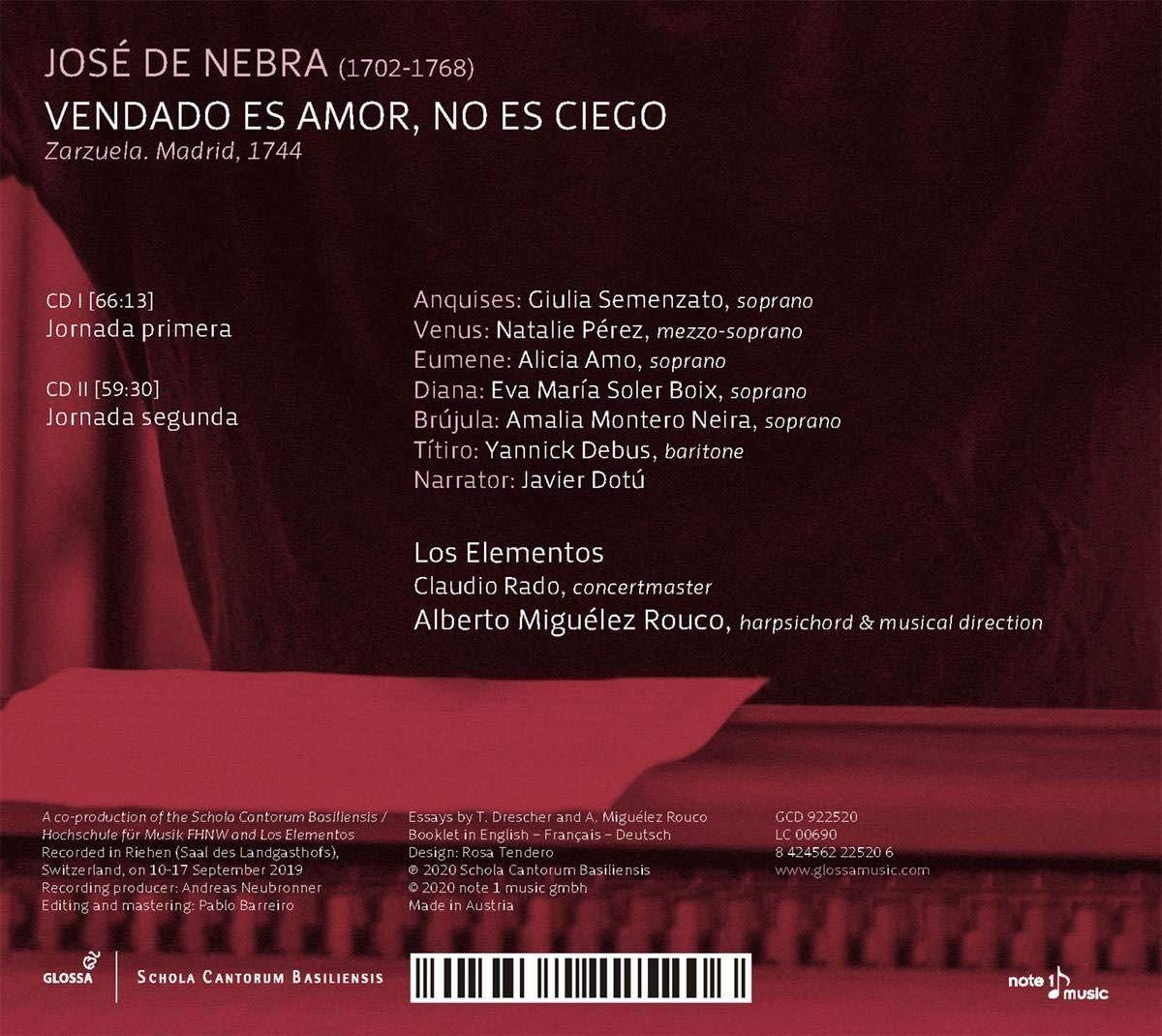 Photo No.2 of Jose de Nebra: Vendado Es Amor, No Es Ciego