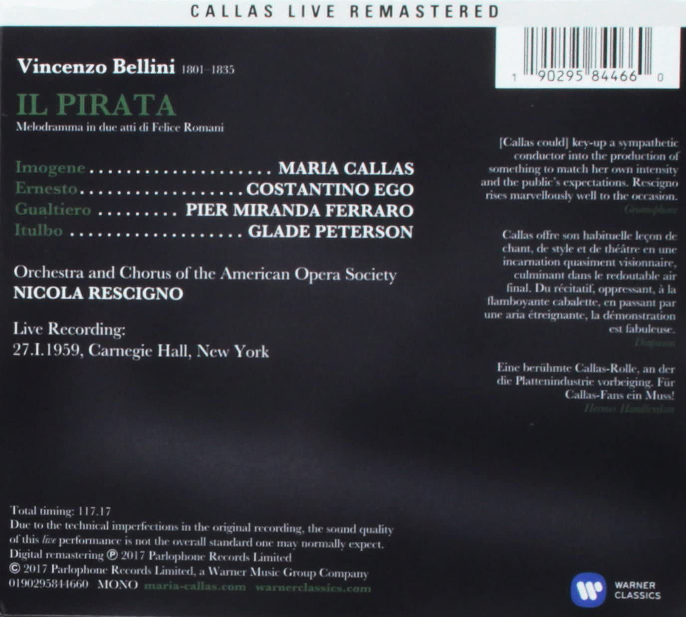 Photo No.2 of Bellini: Il pirata (1959) Callas Live Remastered