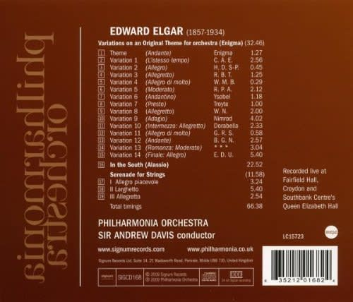 Photo No.2 of Edward Elgar: Enigma Variations, In the South (Alassio), Serenade for Strings