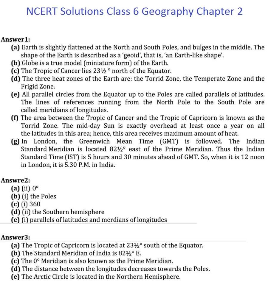 NCERT Solutions For Class 6 Geography Chapter 2