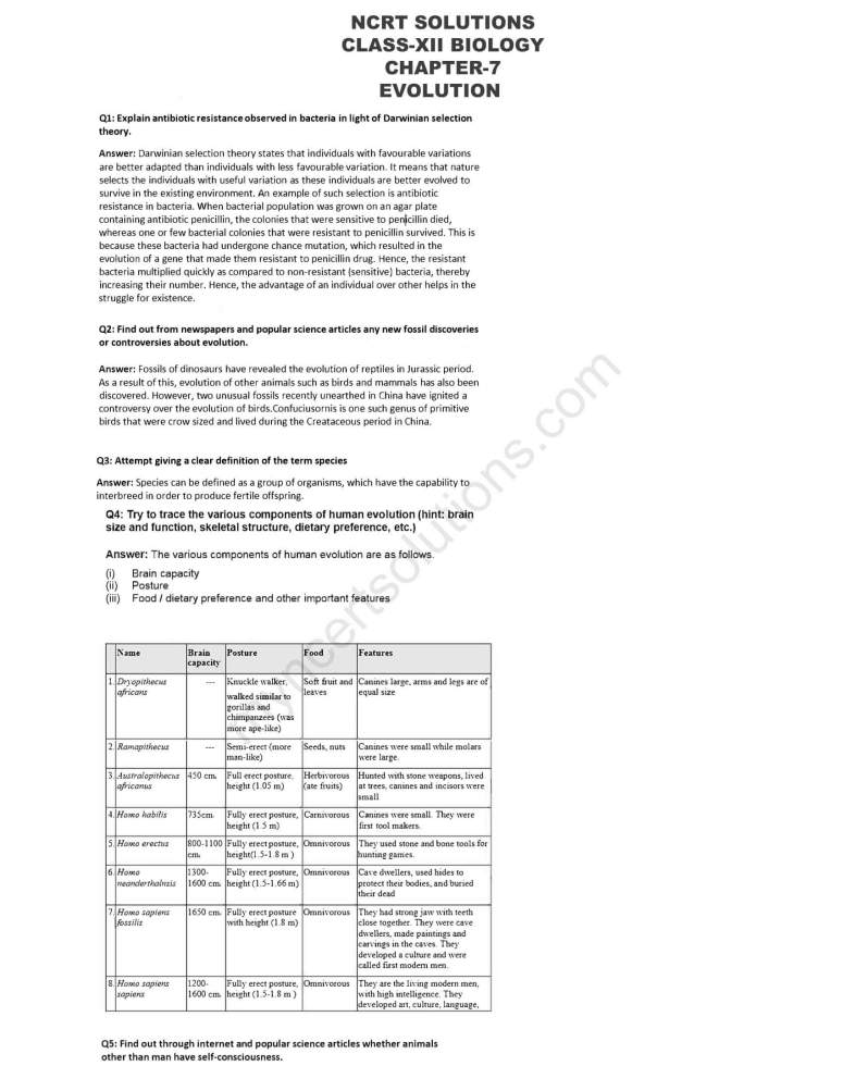 NCERT Solutions For Class 12 Biology Chapter 7 - Free PDFs