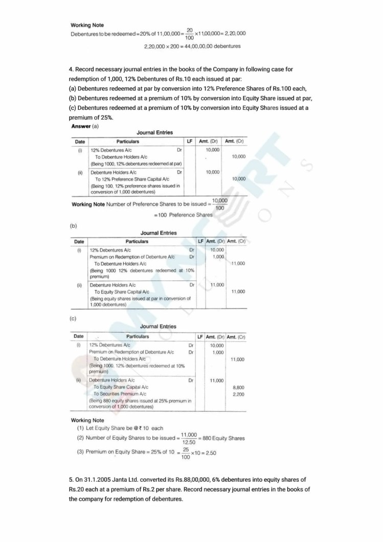 ncert solutions class 12 accountancy part 2 chapter 2 issue and redemption of debentures 15